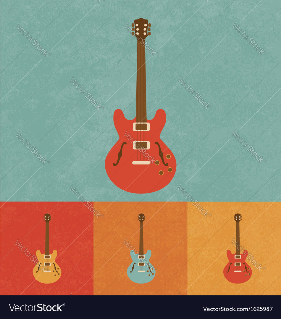 Retro electric guitar vector | Price: 1 Credit (USD $1)