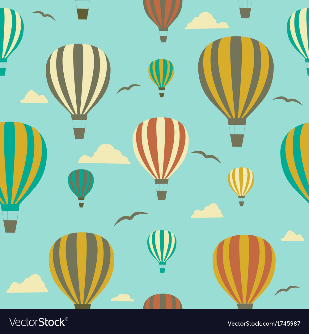 Seamless background with hot air balloons vector   Price: 1 Credit (USD $1)