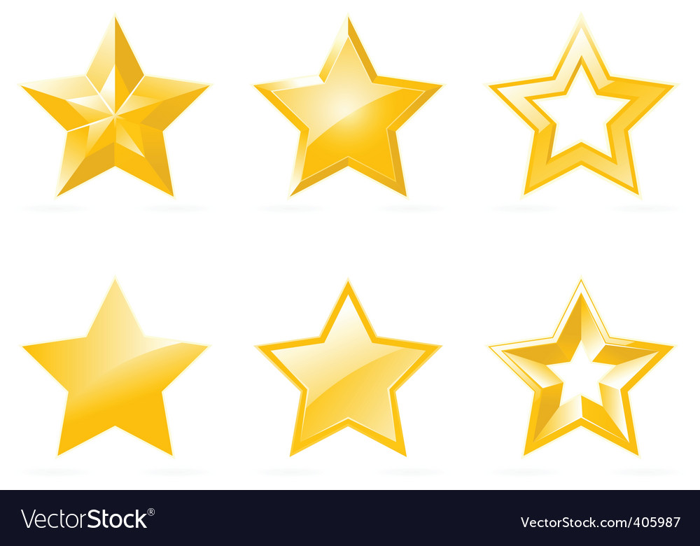 Set of shiny star icons vector