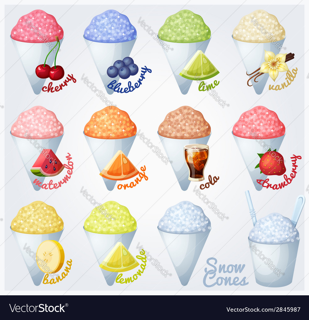Set of snow cones shaved ice vector | Price: 1 Credit (USD $1)