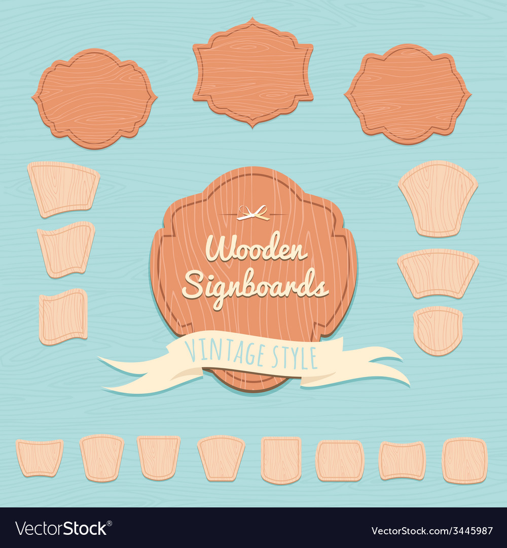 Set of wooden signboards flat style vector | Price: 1 Credit (USD $1)