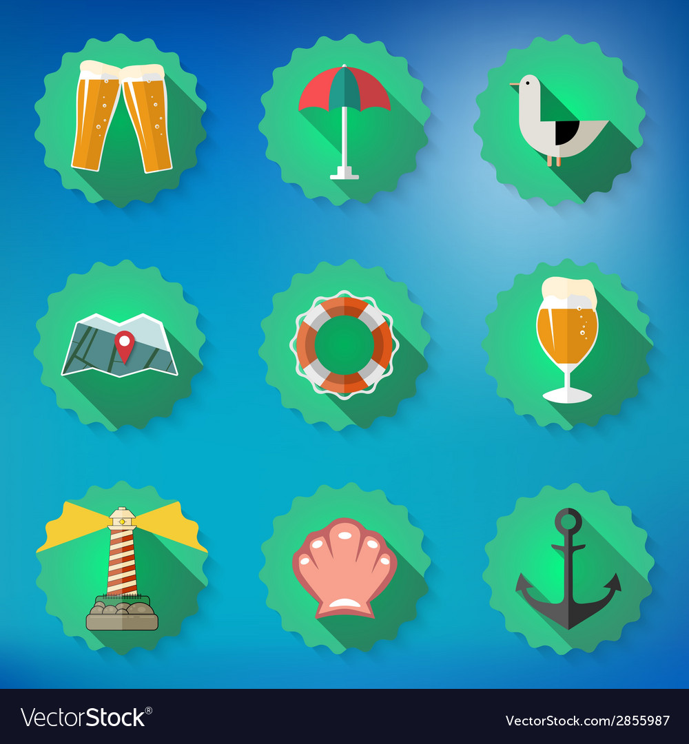 Summer sea travel weekend trip flat icon set vector | Price: 1 Credit (USD $1)