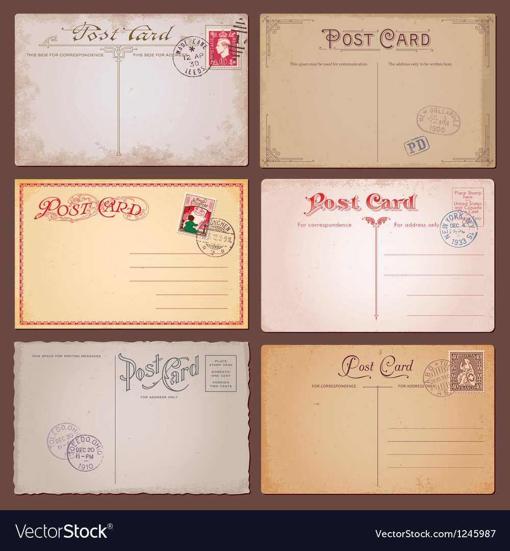 Vintage style postcards vector | Price: 1 Credit (USD $1)