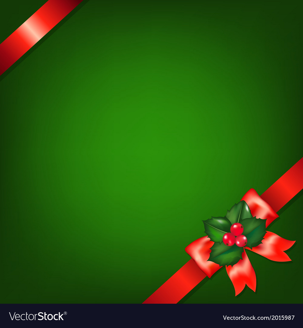 Xmas red ribbons with holly berry vector | Price: 1 Credit (USD $1)