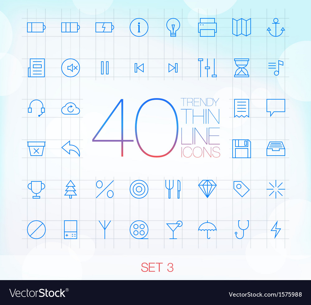 40 trendy thin icons for web and mobile set 3 vector | Price: 1 Credit (USD $1)