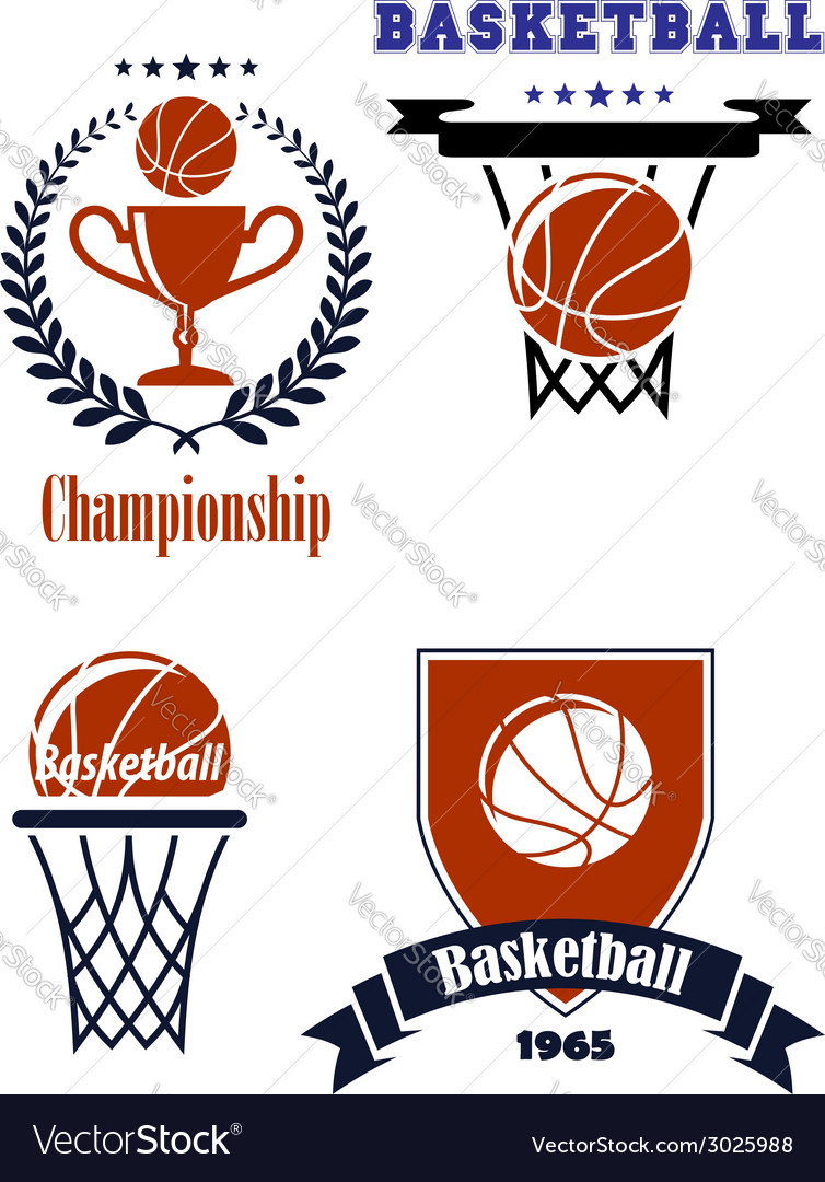 Basketball sporting symbols or logos vector | Price: 1 Credit (USD $1)
