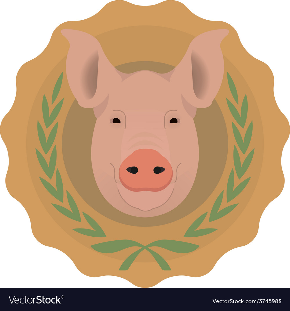Butchery logo pig head in laurel wreath no outline vector | Price: 1 Credit (USD $1)