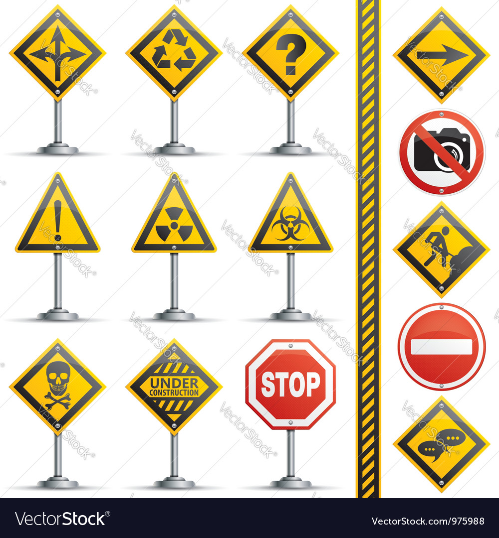 Collection road signs vector | Price: 1 Credit (USD $1)