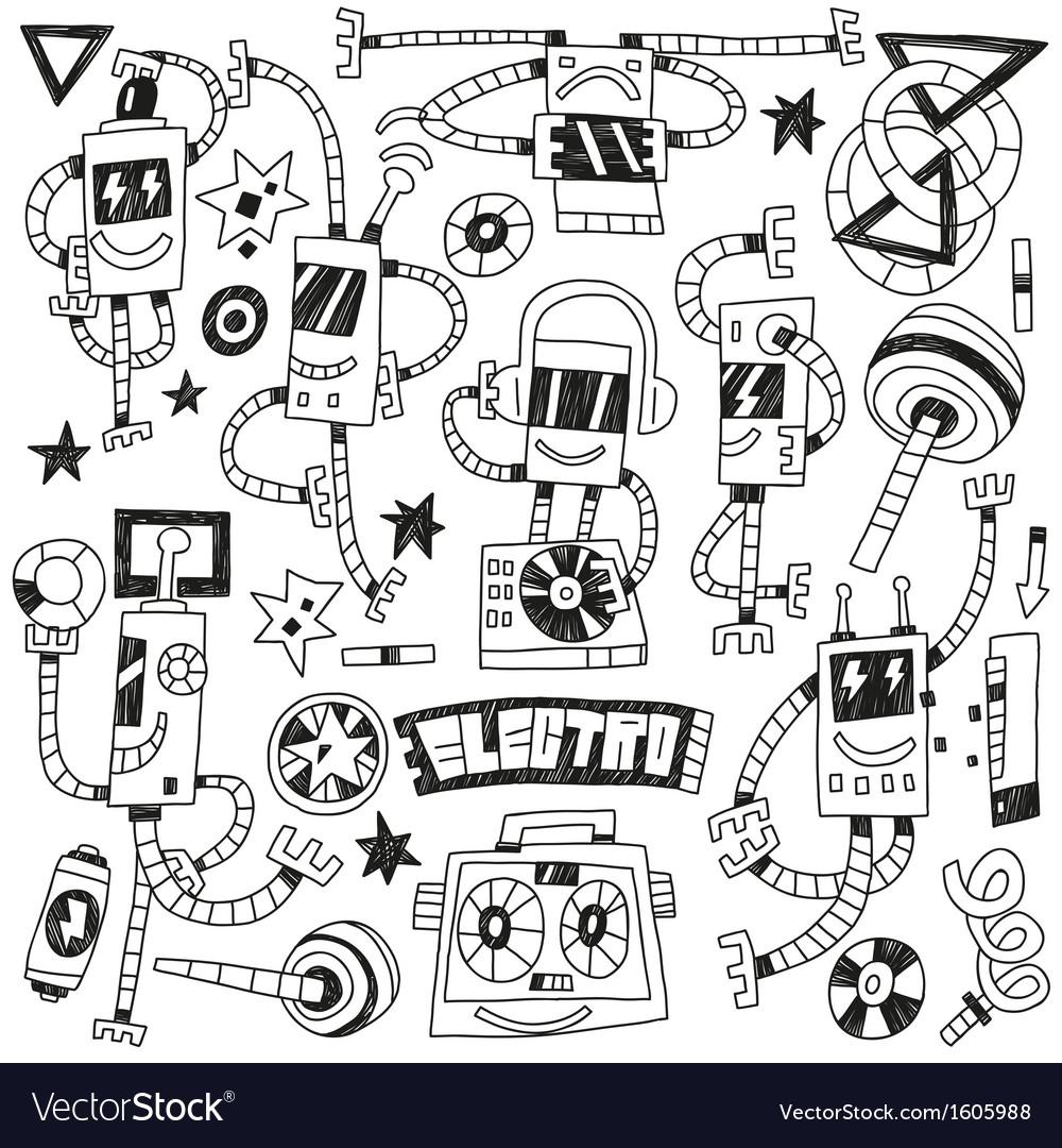 Dancing robots - doodles vector   Price: 1 Credit (USD $1)
