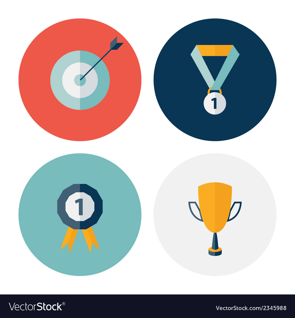 Flat circle career success icons set vector | Price: 1 Credit (USD $1)