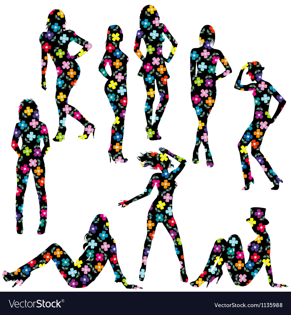 Floral patterned women silhouettes vector   Price: 1 Credit (USD $1)