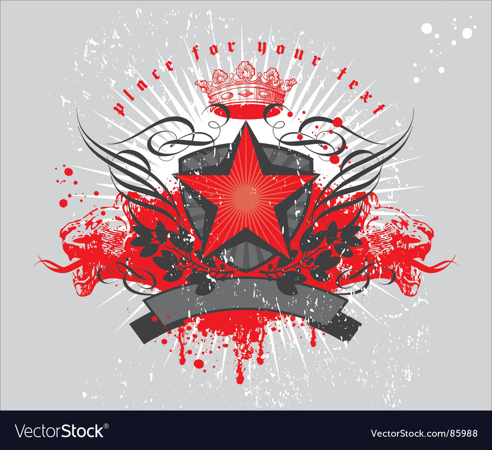Heraldic composition with red star vector | Price: 1 Credit (USD $1)