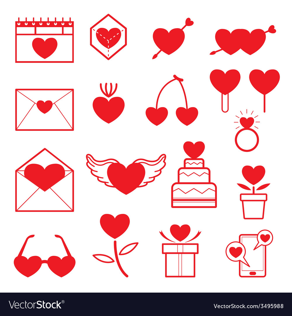 Love objects line icons set vector | Price: 1 Credit (USD $1)