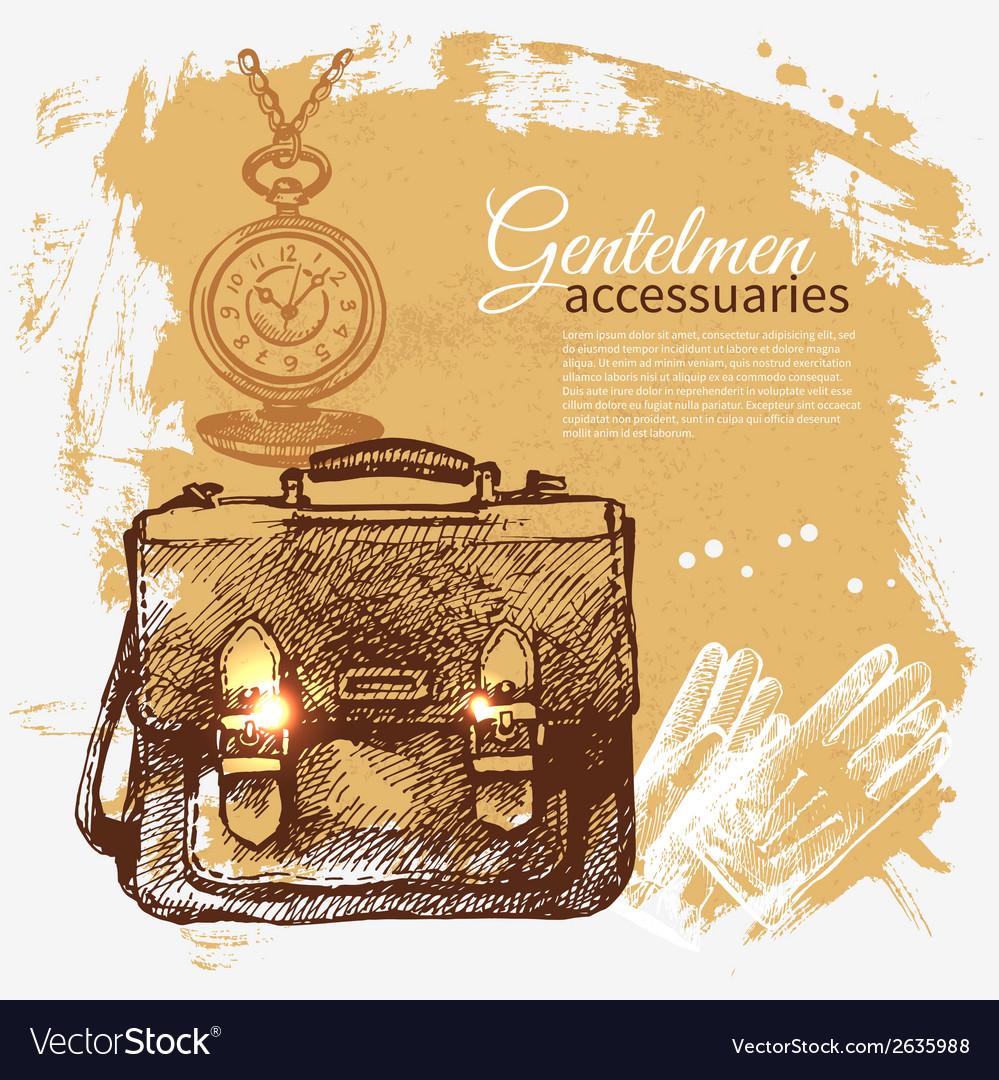 Sketch gentlemen accessory vintage background vector | Price: 1 Credit (USD $1)
