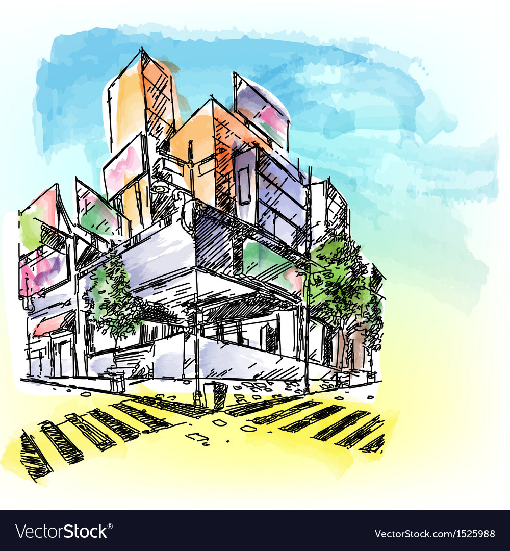 Watercolored building vector | Price: 1 Credit (USD $1)