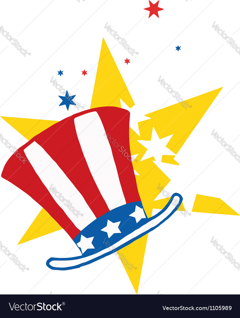 American hat over stars vector | Price: 1 Credit (USD $1)