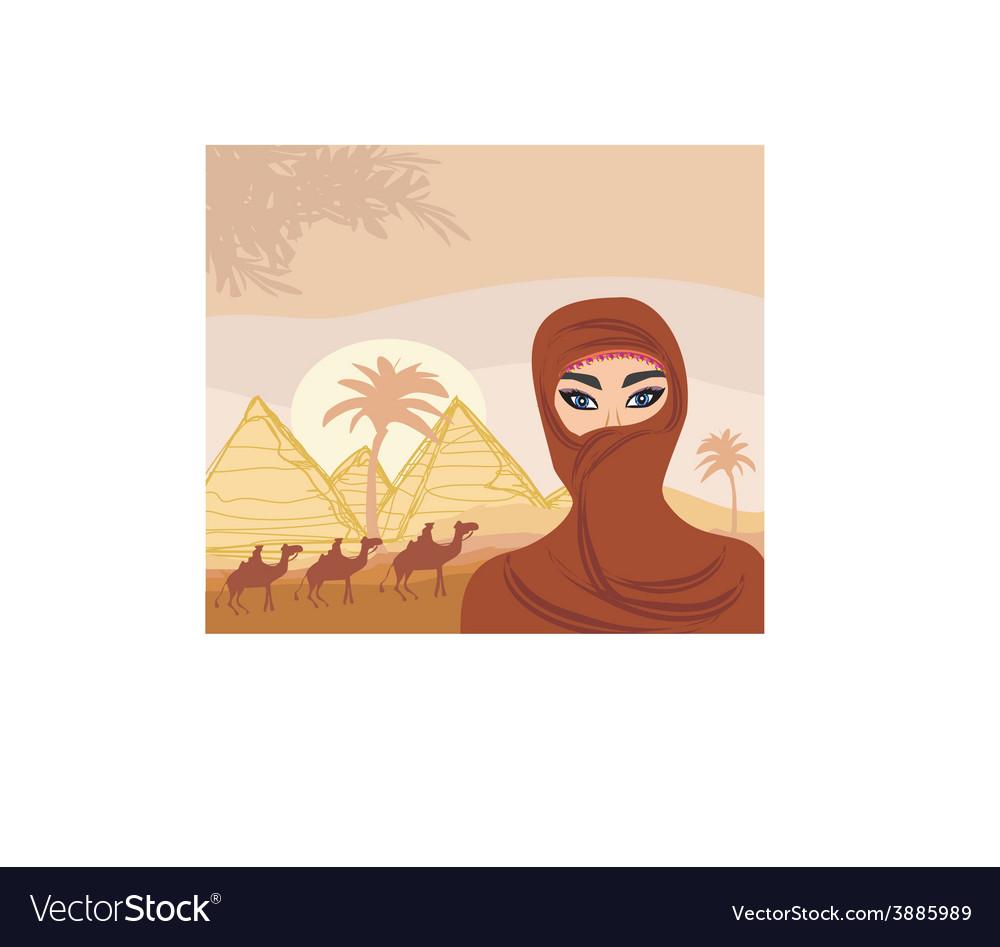 Arabian woman in the desert vector | Price: 1 Credit (USD $1)