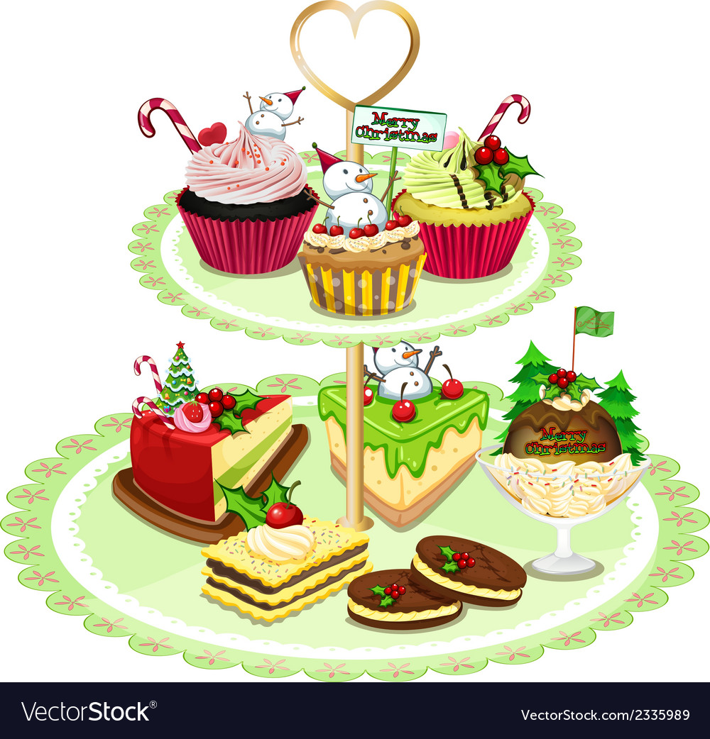 Baked goods arranged in the tray vector | Price: 1 Credit (USD $1)