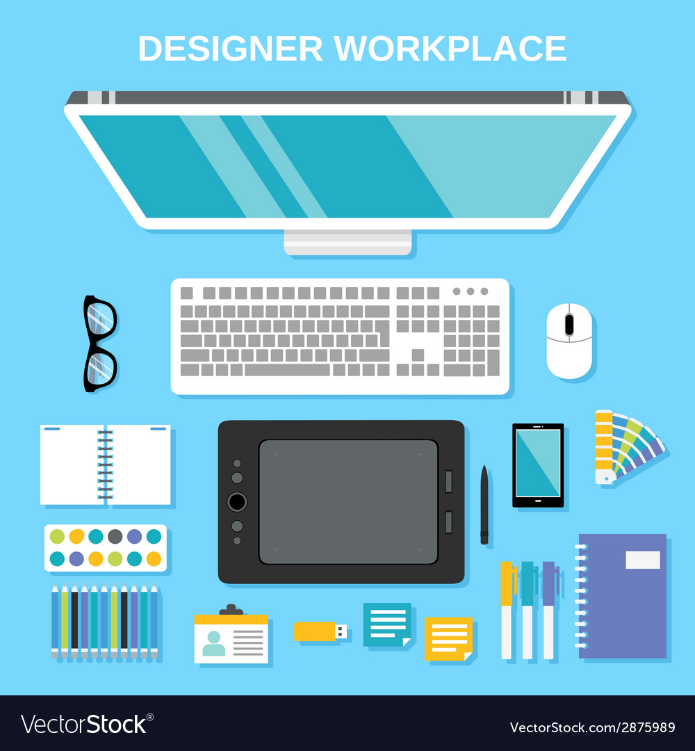 Designer workplace top view vector | Price: 1 Credit (USD $1)