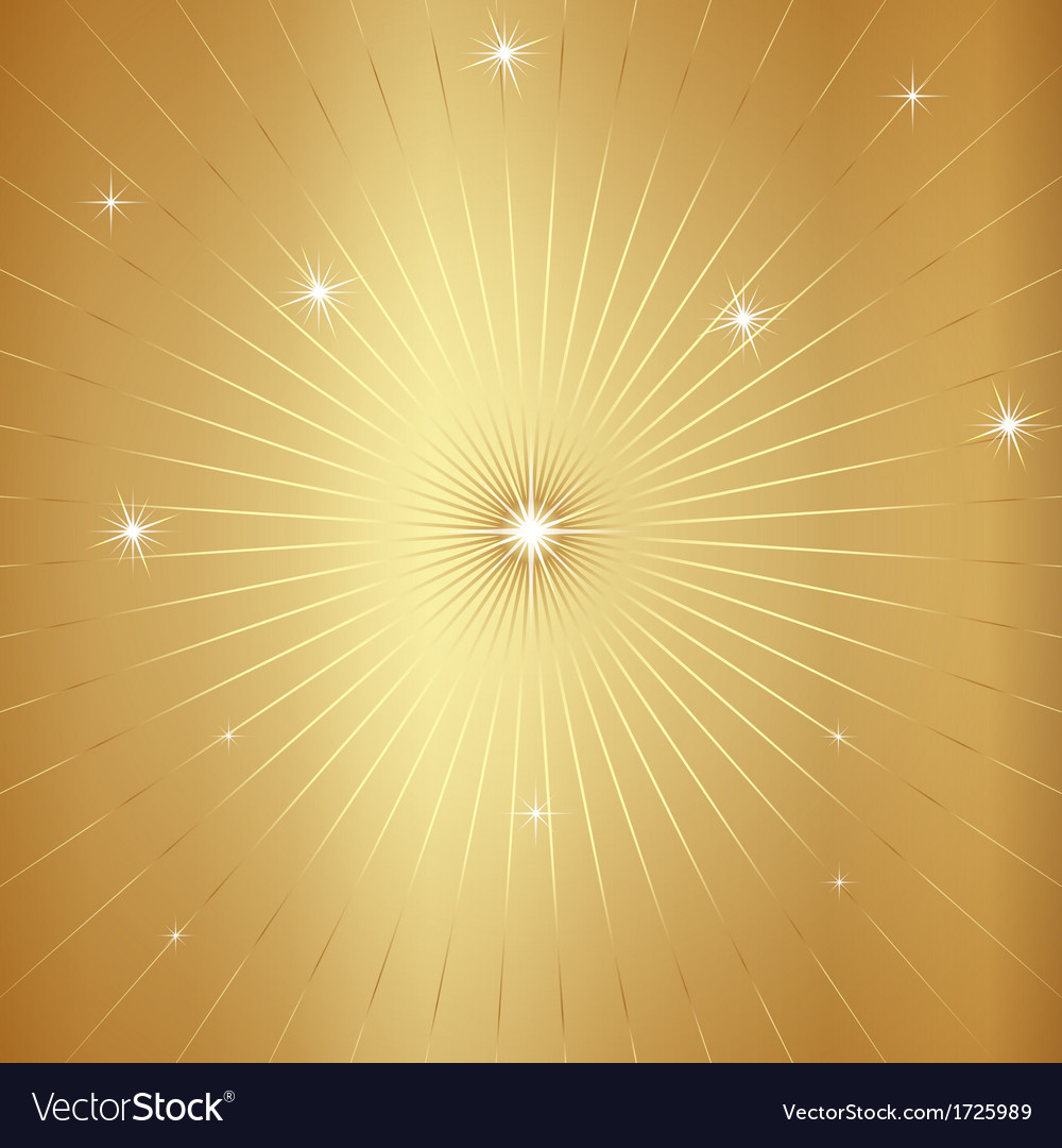 Gold background with stars and rays vector | Price: 1 Credit (USD $1)