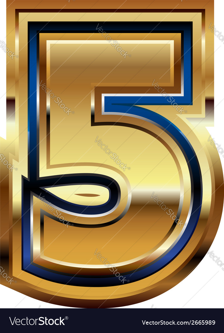Golden number 5 vector | Price: 1 Credit (USD $1)