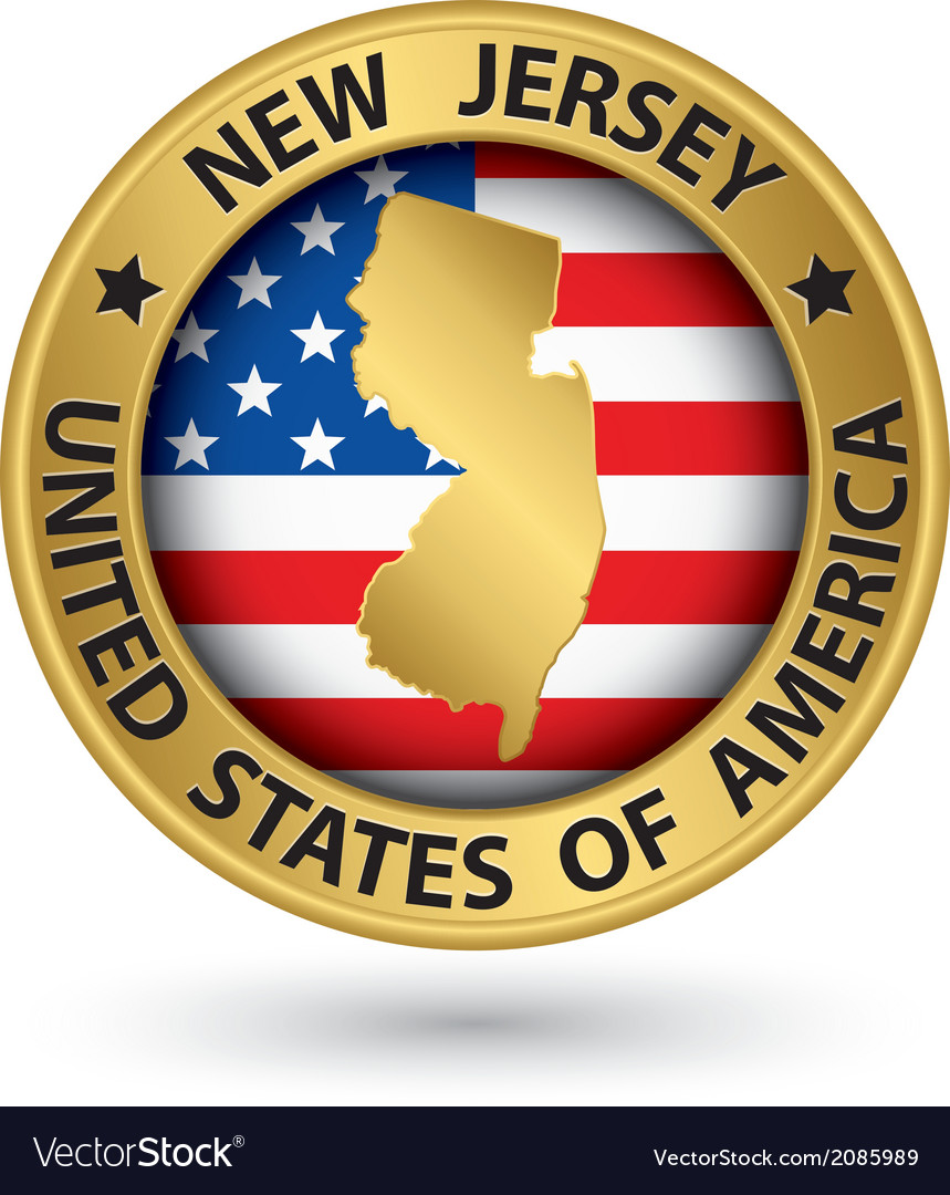 New jersey state gold label with state map vector | Price: 1 Credit (USD $1)