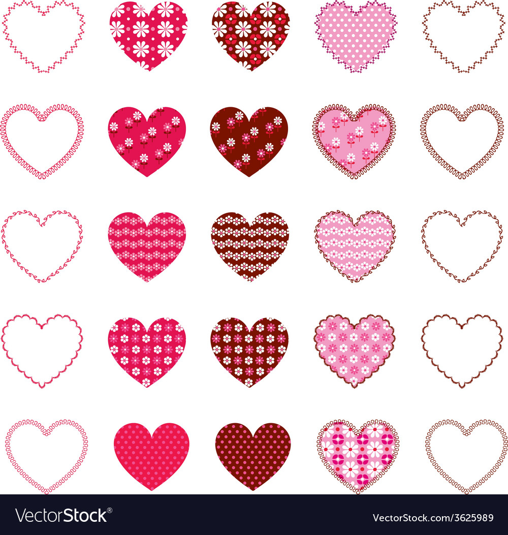 Patterned hearts and frames vector | Price: 1 Credit (USD $1)