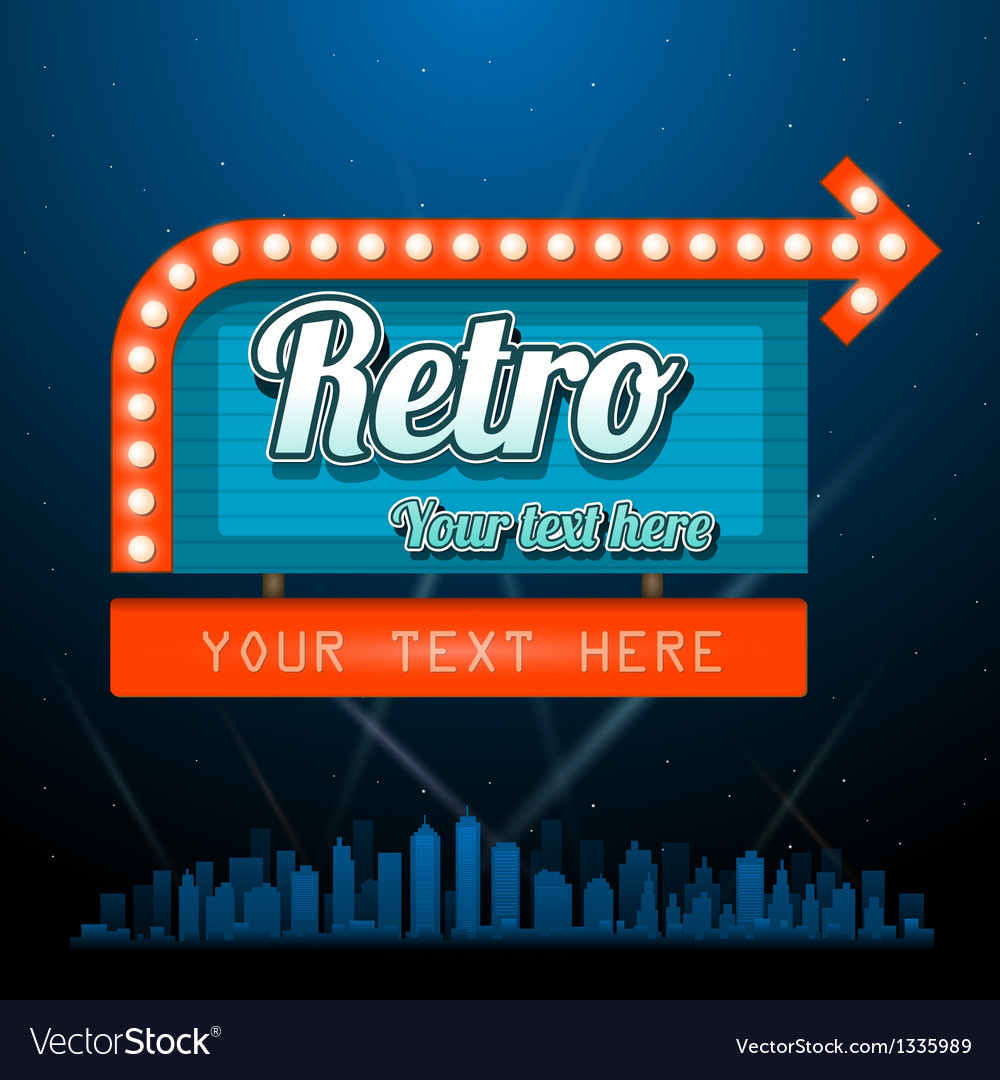 Retro motel sign with copyspace vector | Price: 1 Credit (USD $1)
