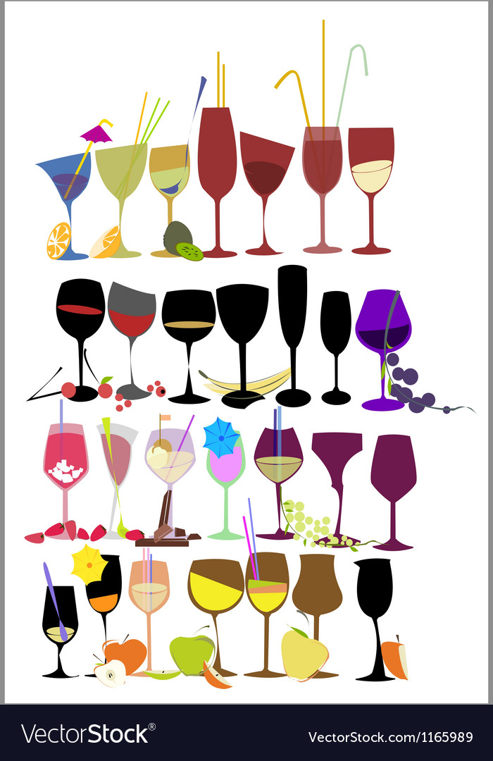 Set of fruit cocktail glasses vector | Price: 1 Credit (USD $1)