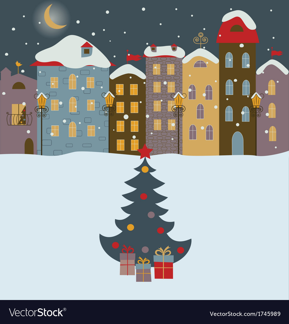 Winter town with christmas tree vector | Price: 1 Credit (USD $1)