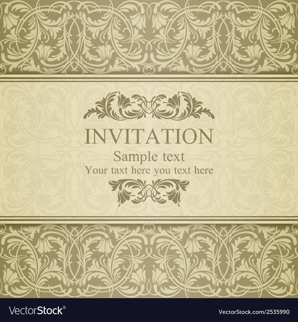 Baroque invitation beige vector | Price: 1 Credit (USD $1)