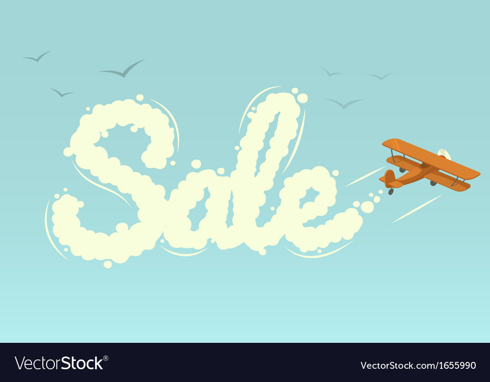 Biplane with word sale vector | Price: 1 Credit (USD $1)