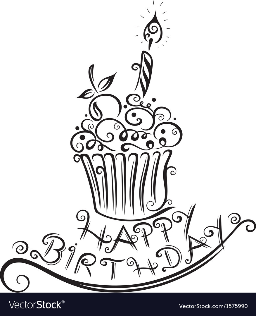 Birthday muffin cupcake vector | Price: 1 Credit (USD $1)