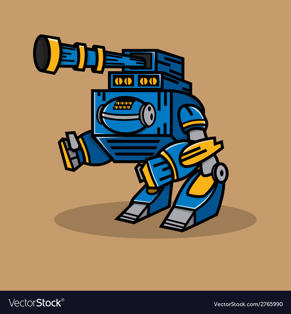 Blue cannon robot vector | Price: 1 Credit (USD $1)