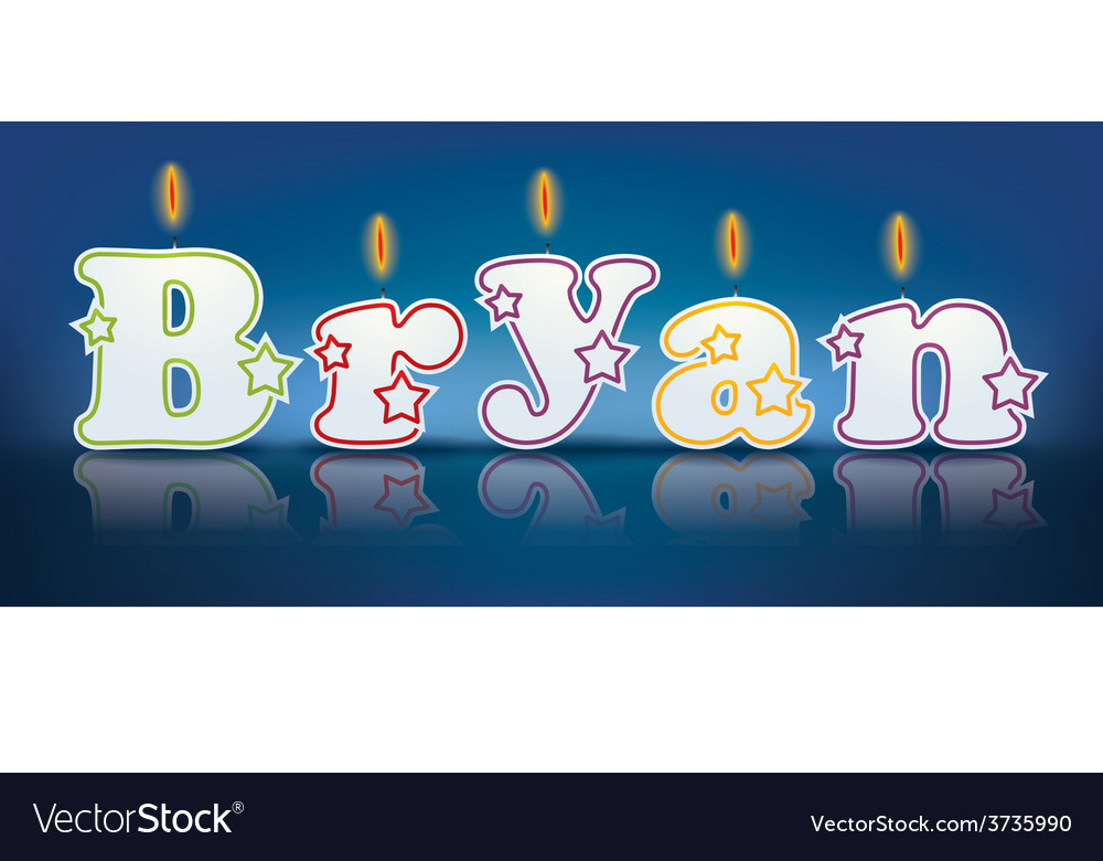 Bryan written with burning candles vector | Price: 1 Credit (USD $1)