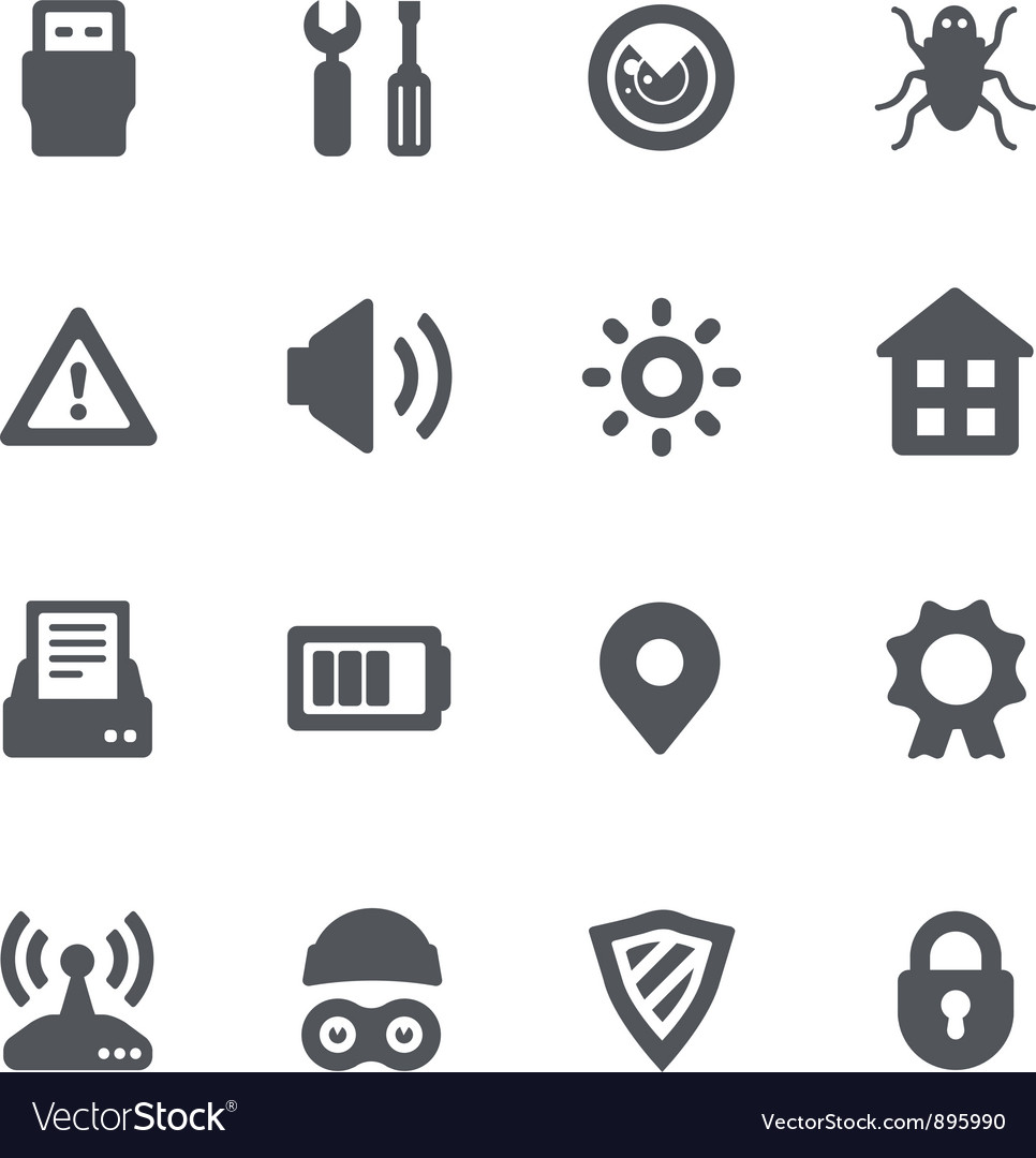 Device security icon set vector | Price: 1 Credit (USD $1)