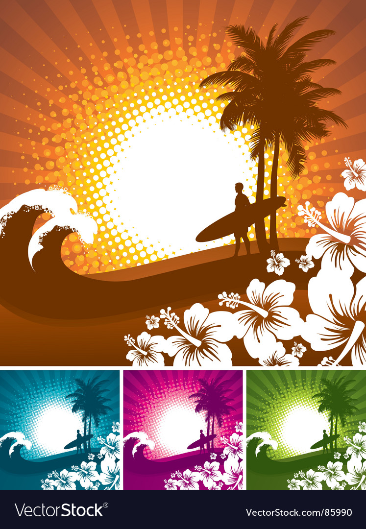 Hibiscus and surfer silhouettes vector | Price: 1 Credit (USD $1)