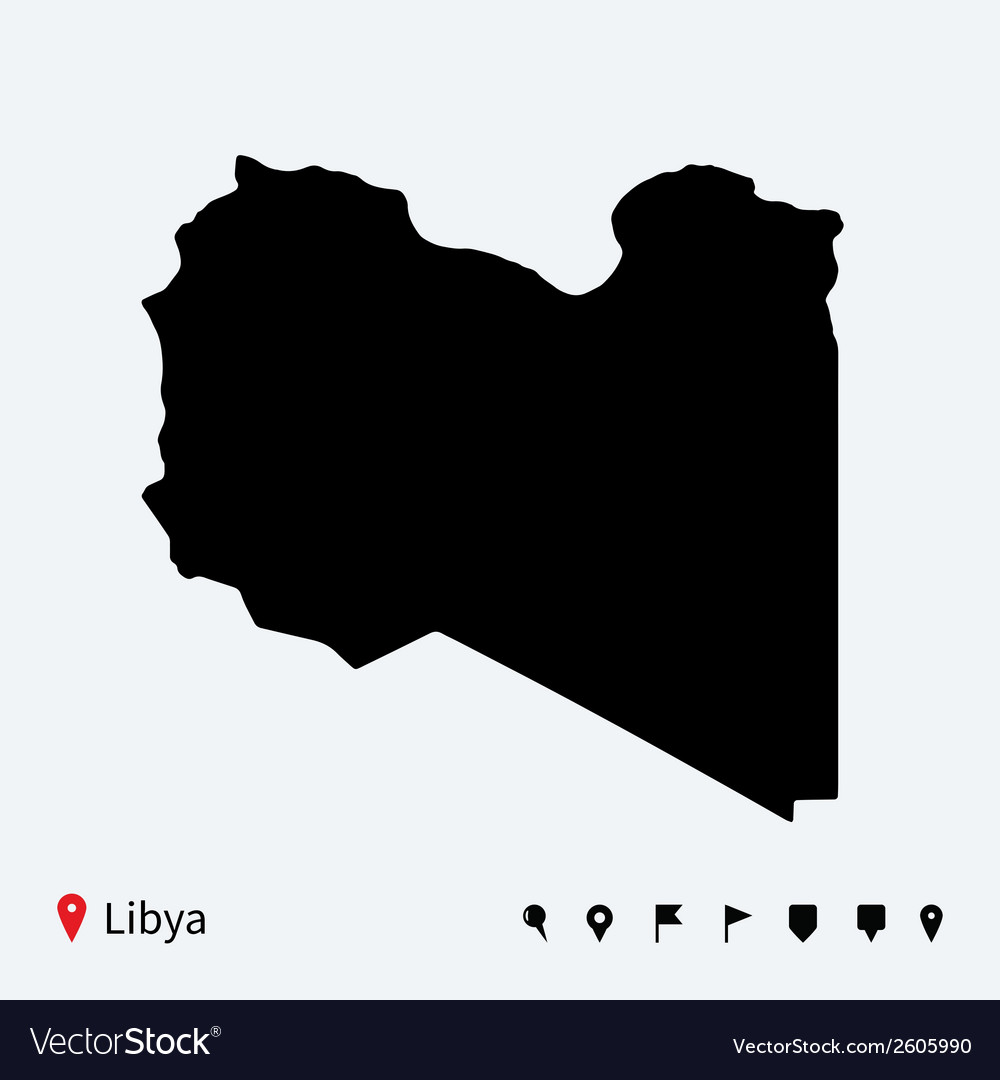 High detailed map of libya with navigation pins vector | Price: 1 Credit (USD $1)