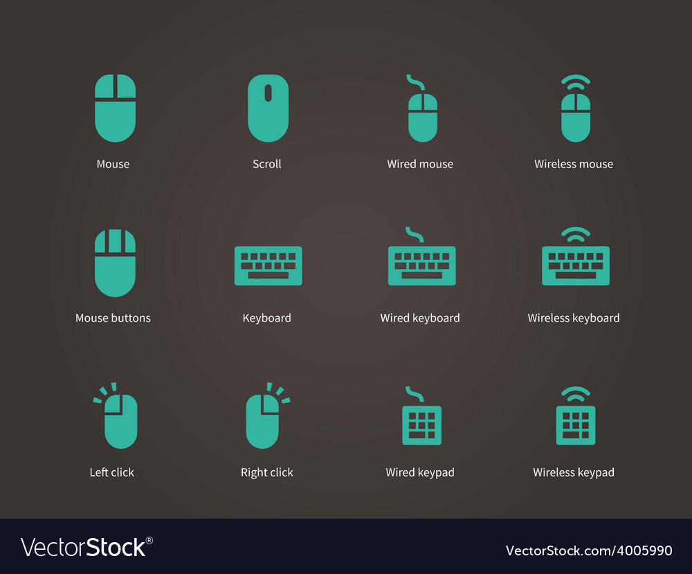 Keypad and mouse icons vector | Price: 1 Credit (USD $1)
