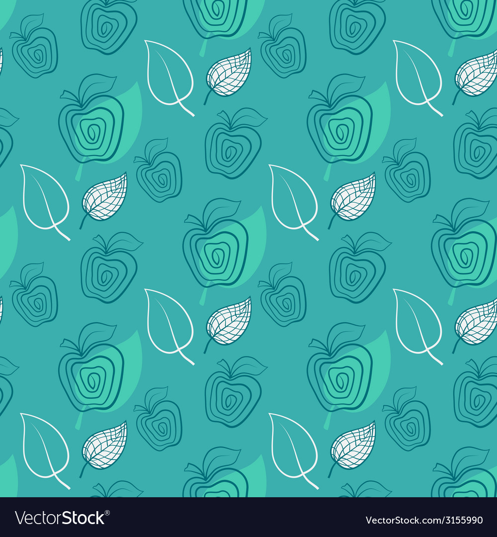 Seamless pattern with appleapplegreenleaf vector | Price: 1 Credit (USD $1)