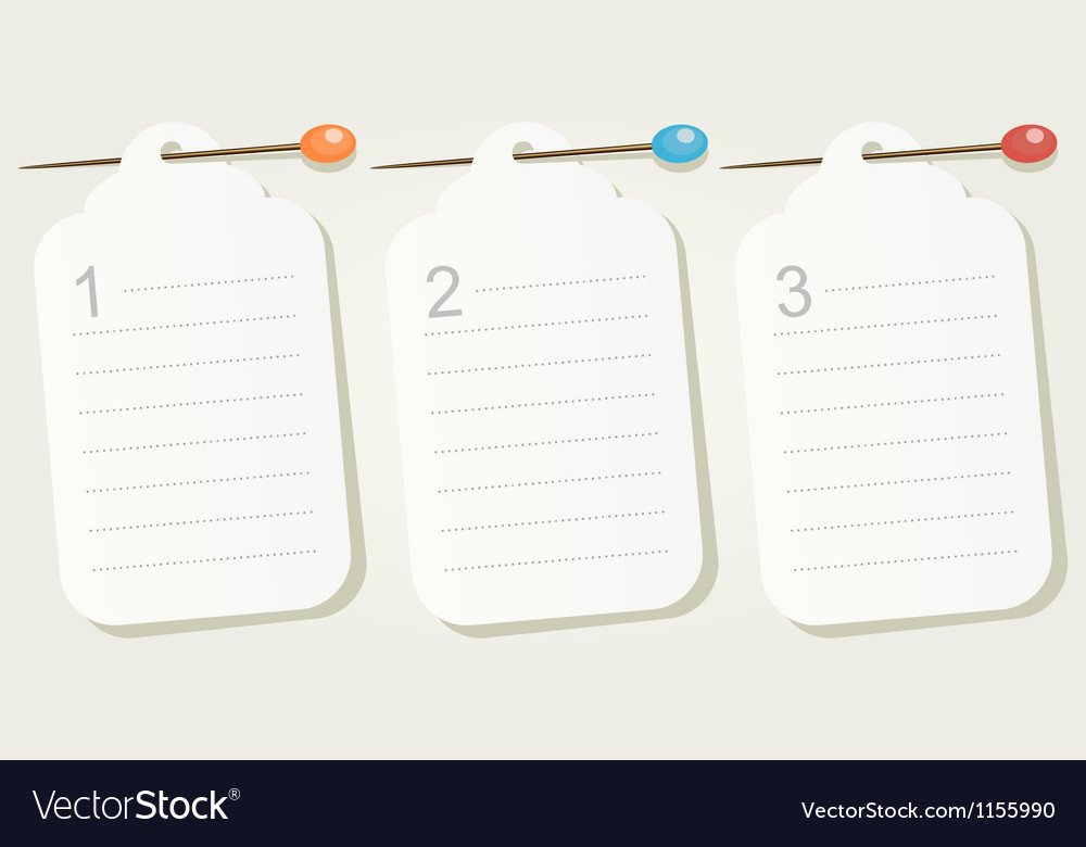 Set of three numbered pinned blank sheets of paper vector | Price: 1 Credit (USD $1)