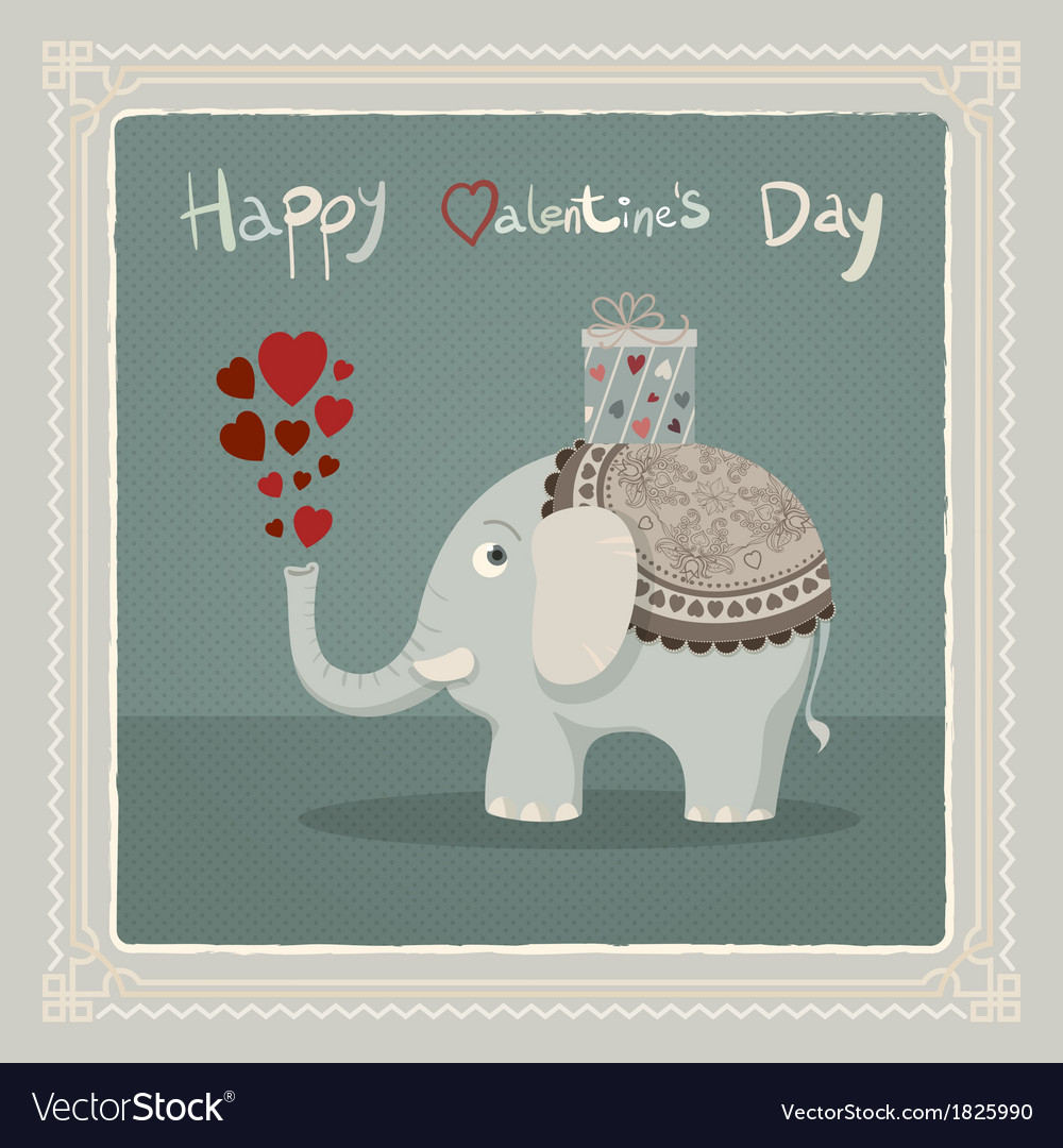 Valentines day elephant card vector | Price: 1 Credit (USD $1)