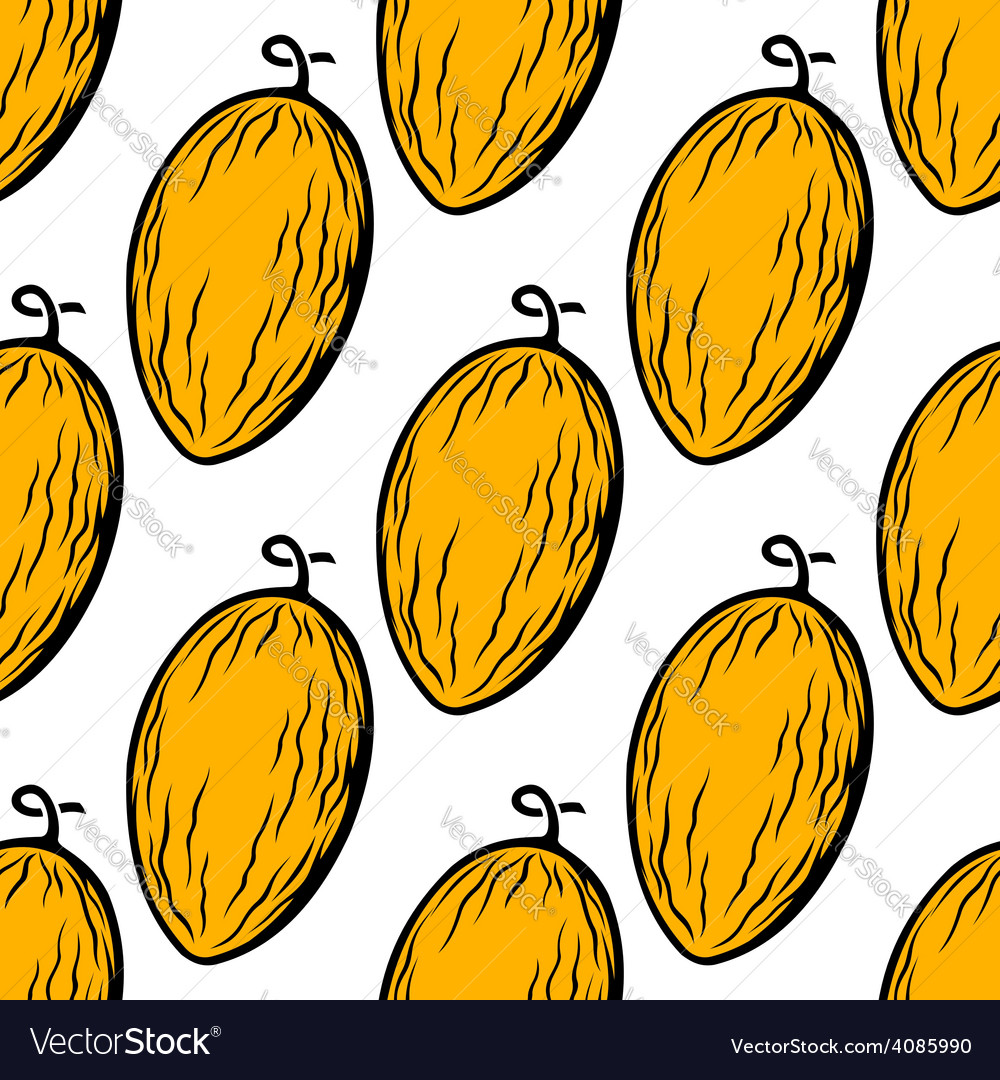 Yellow melon fruit seamless pattern vector | Price: 1 Credit (USD $1)