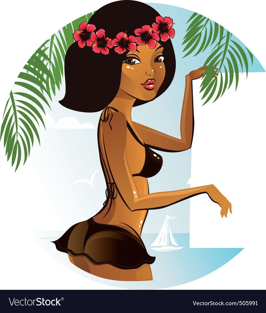 Bikini girl banner vector | Price: 3 Credit (USD $3)