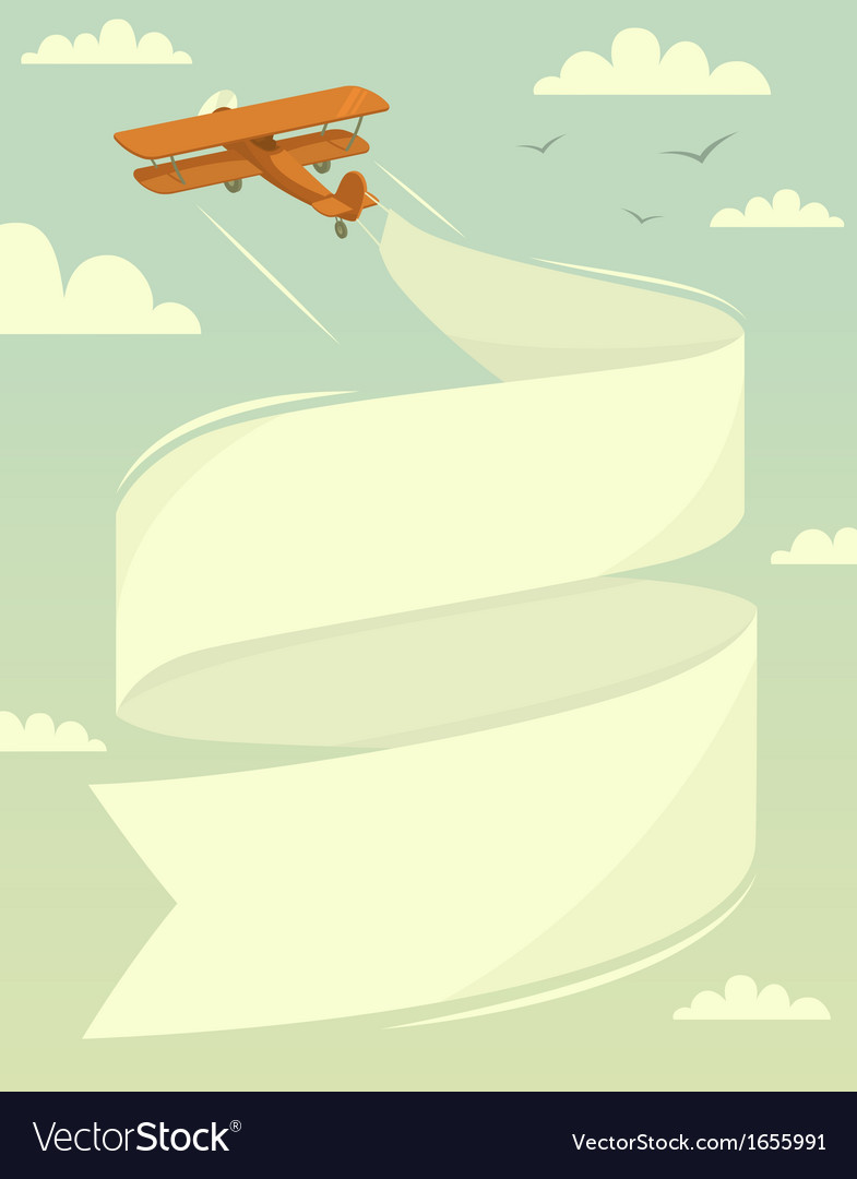 Biplane with banner vector | Price: 1 Credit (USD $1)