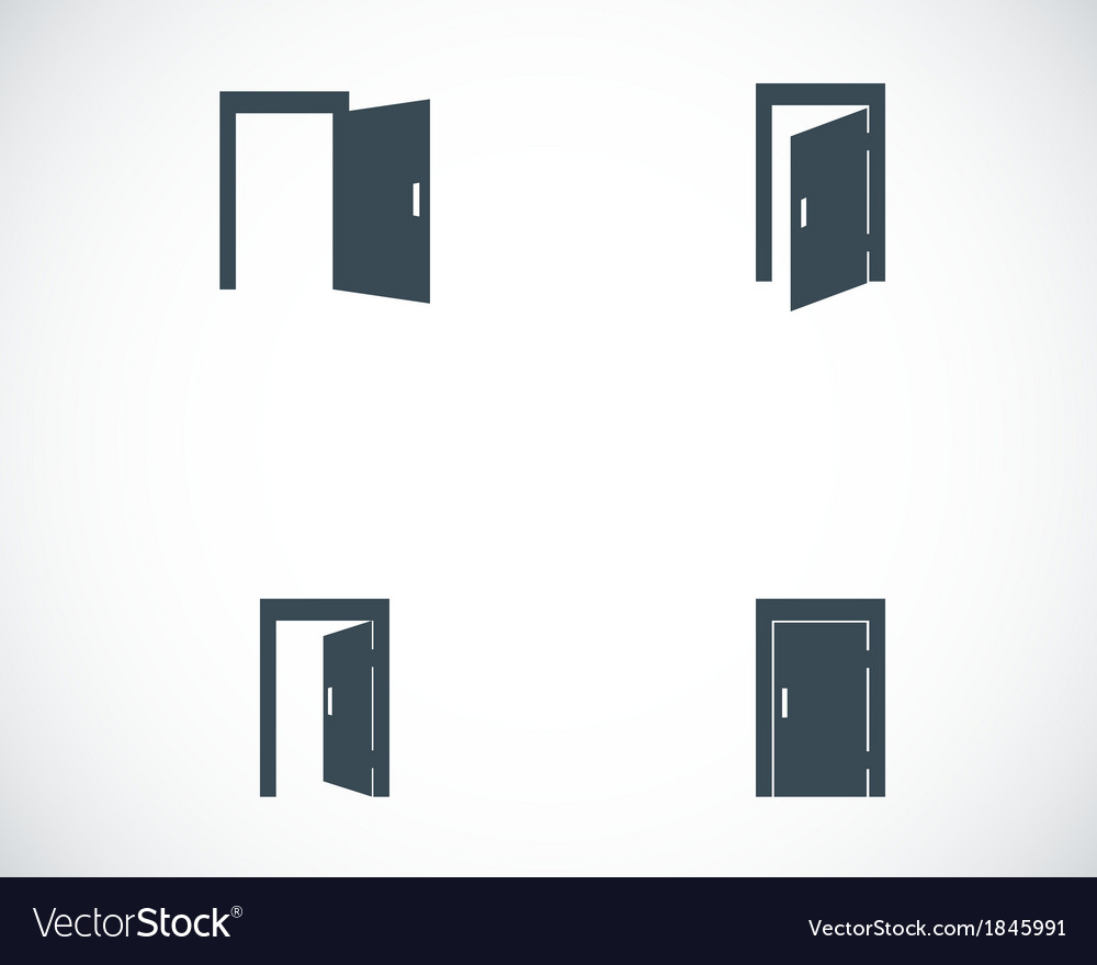 Black door icons set vector | Price: 1 Credit (USD $1)