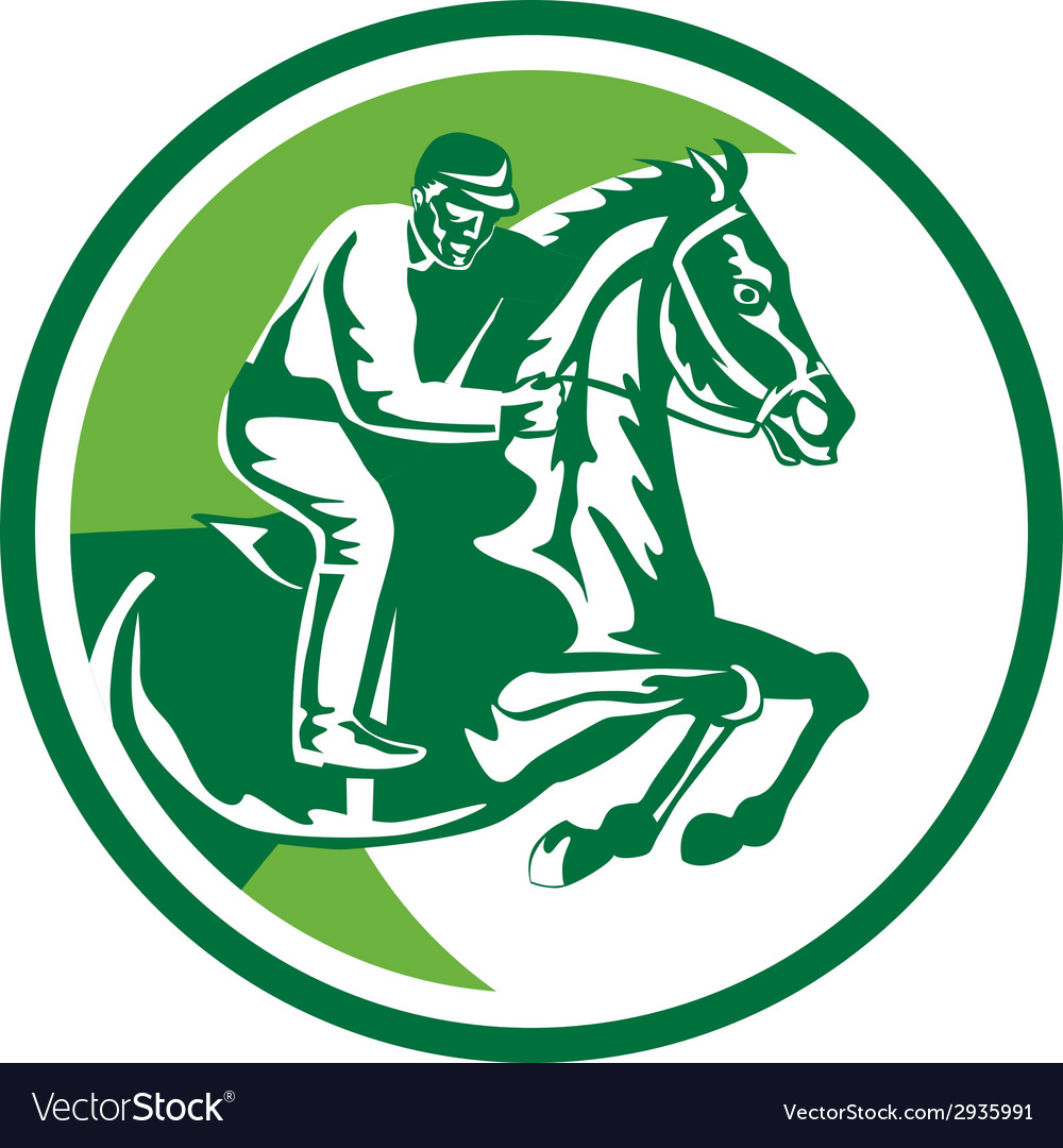 Equestrian show jumping side circle retro vector | Price: 1 Credit (USD $1)