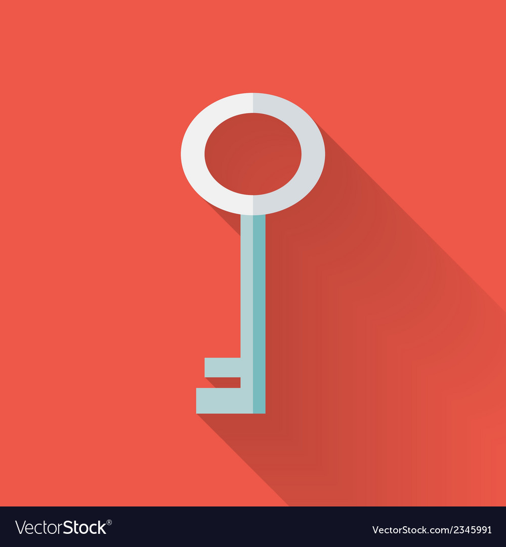 Flat key icon over red vector | Price: 1 Credit (USD $1)