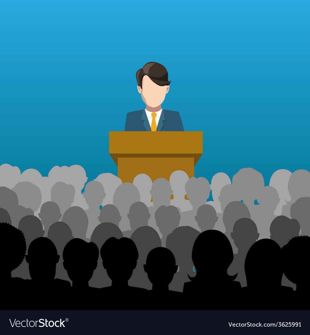 Man holds a lecture to an audience vector | Price: 1 Credit (USD $1)