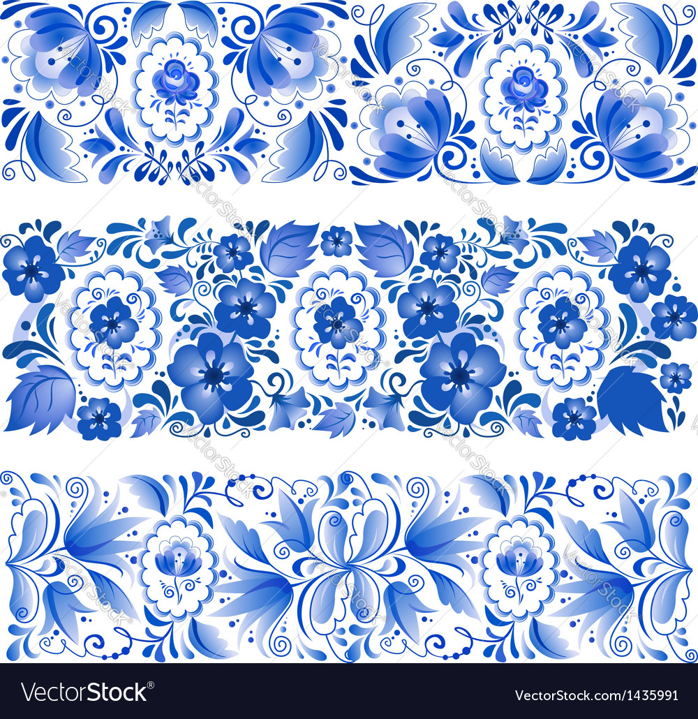 Russian traditional blue ornament in gzhel style vector | Price: 1 Credit (USD $1)